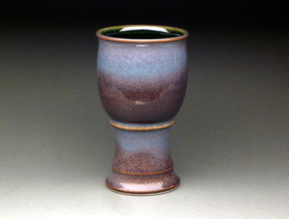 Soft Blue and Rusty Purple Goblet