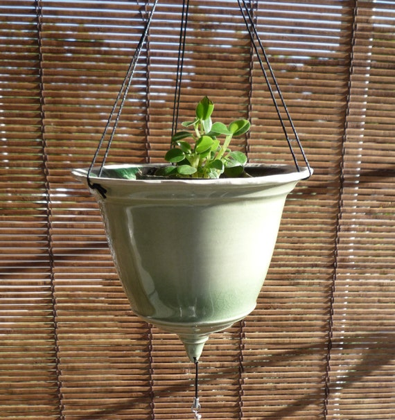 Celadon Hanging Planter with Beadwork