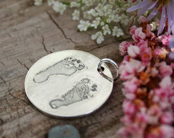 Baby Footprints Pendant - from your baby's actual footprints - sterling