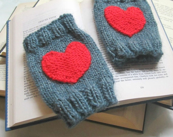 Teal Blue love heart Fingerless Gloves, pick your colour