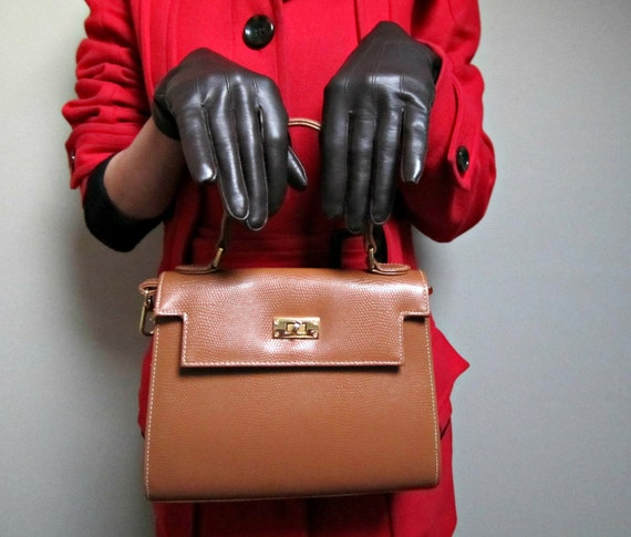 Brown Vintage Faux Leather Gloves