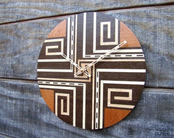 Inlaid Wood Wall Clock  titled Crossroads for the Home or Officel  WC-3   Free Shipping.
