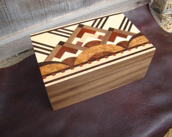 Art Deco wood box with inlaid top