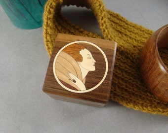 Ring Box of solid walnut with inlaid Art Deco Female.   Free Shipping and Engraving.  RB3