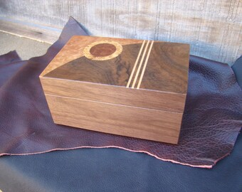 Wood Box with art deco inlaid design