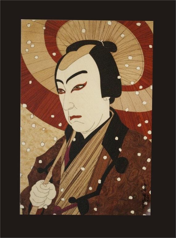 Kabuki actor wood block inlay