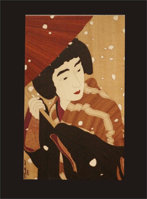 Japanese woodblock inlay
