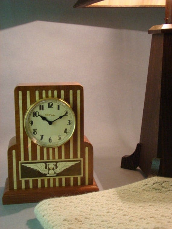 Art Deco Desk or Mantle Clock with Winged Hourglass  MC46  With Free Shipping.