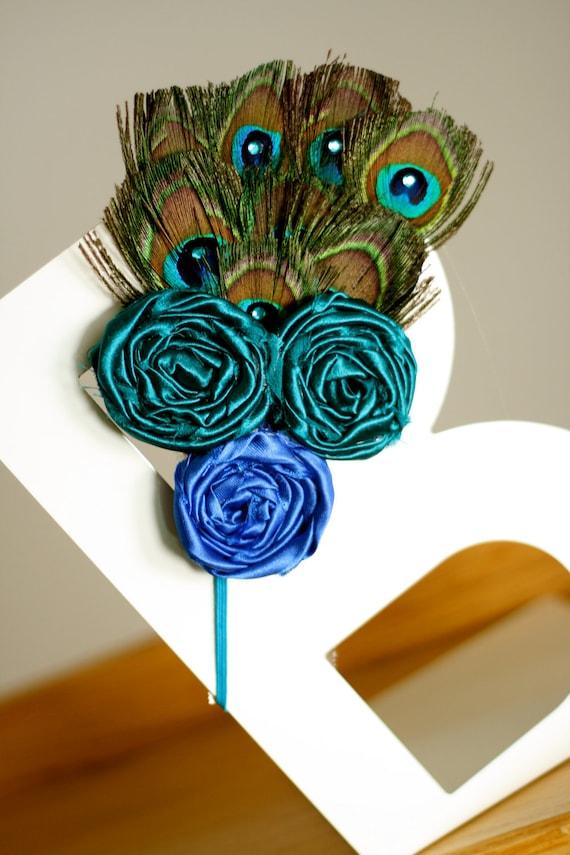 Peacock Feather Rosette Headband - Silk Deep Teal and Deep Blue