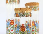 Glass Canisters Set of Three - Love Birds