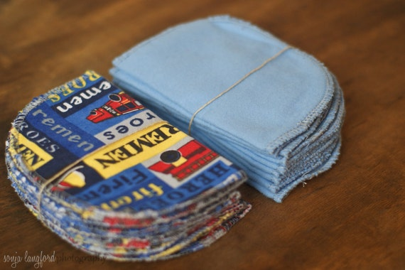 Blue Firemen Set of 20 Baby Wipes- Resuable Wipes - Double Thickness