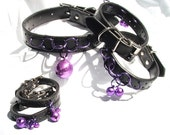 Purple Bells BDSM Collar and Cuff Set. Slave Bells and Rings Bondage Set