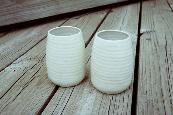 SALE- set of white cups (2)