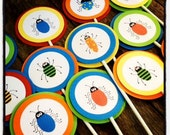 Bug Birthday Party Buggy Birthday - Insect Bug Boy Birthday Party Cupcake Toppers Orange, blue, green, yellow, red