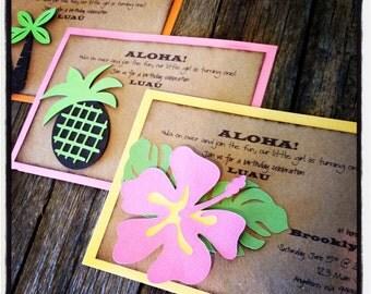 Luau Hawaiian Aloha Invitations Luau Party invites Hibiscus flower, palm trees and pineapples