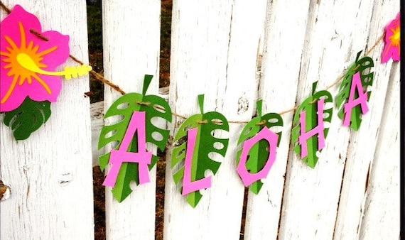 ALOHA Luau Party Banner, Pink hibiscus green, ready to hang - hawaiian party
