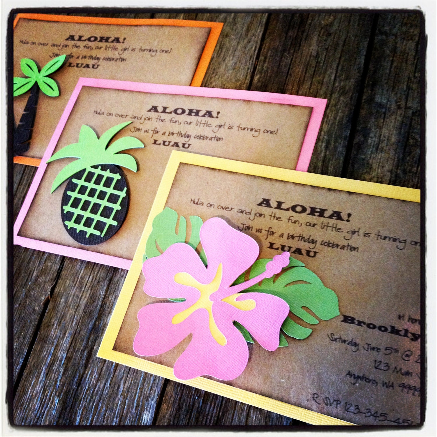 Luau Hawaiian Aloha Invitations Party Invites Hibiscus