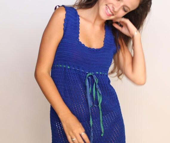 sale . 1960s dress . 1970s  fashion . Blue Mini Dress . vintage crochet dress . Royal Blue Hippie Dress . authentic vintage