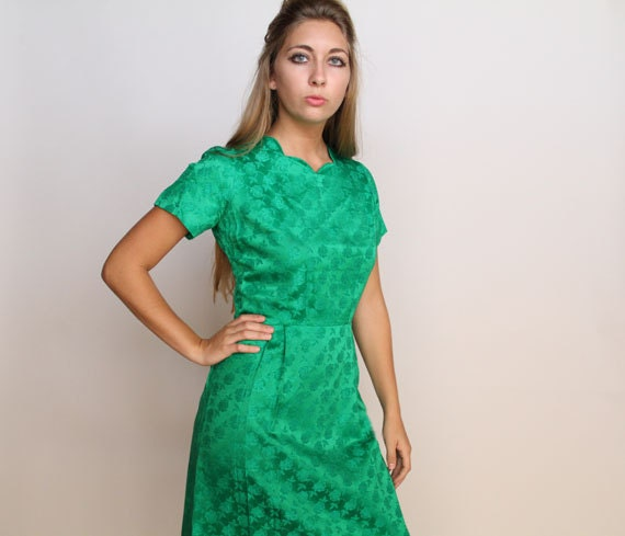 1950s green dress . green satin rose dress . 1950s fashion  . cocktail dress . party dress . wiggle dress . mad men clothing