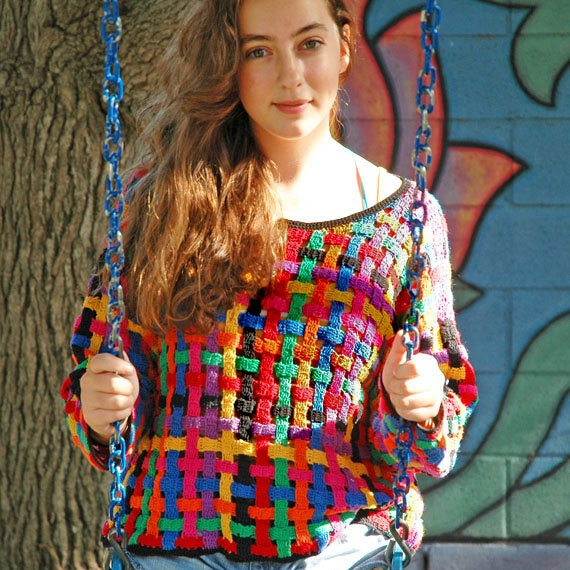 SALE .. 1980s Sweater . multicolor basket weave