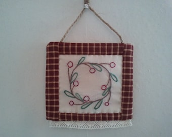 Christmas wreath ornament, rustic country hand embroidered, hand quilted