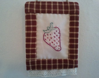 Christmas strawberry ornament, rustic country hand embroidered, hand quilted