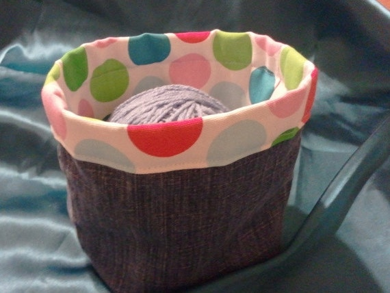 2 Lined denim buckets, baskets. Upcycled jeans and home dec fabric.