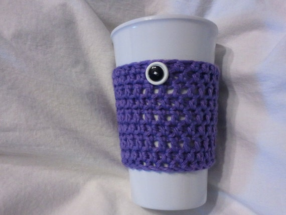 Lavender cup cozy, crocheted cotton with stacked white and black buttons