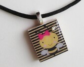 "Girly Bee Scrabble Tile Necklace 16"" satin cord w/2"" extender - DARLING"