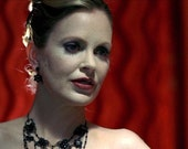 As seen on Kristin Bauer as Pam on True Blood S1 Small Flower Dangle Earrings made with Jet Black Swarovski Crystals