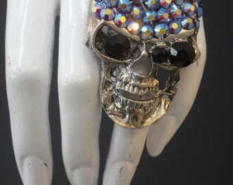 Multi Colored Swarovski Crystal Skull Ring 800RNG