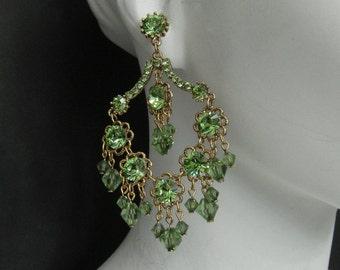 Flora Light Green Swarovski Crystal Antique Gold Earrings 6301E