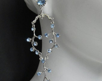 Naiad Nymph - Light Blue Swarovski Crystal Earrings Silver Plated