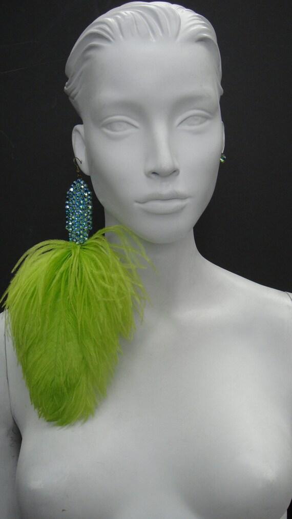 Mardi Gras - Zircon AB Crystal Lime Feather Asymmetrical Honey Brass Earrings 9028