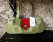 Small Purse - Lime Green with Red Lining and Natural Button