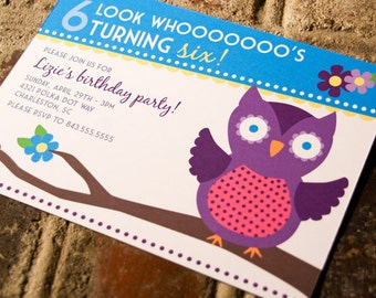 Children's Owl Birthday Invitation