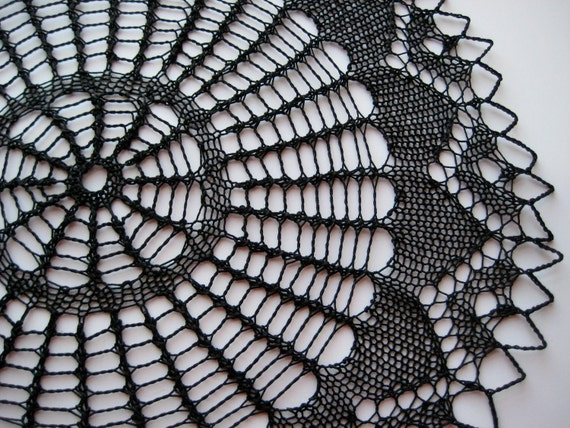 """Black Lace Knitted Doily - 15"""" diameter"""
