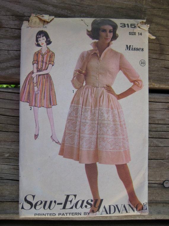 "Vintage 1950s ""Sew-Easy"" Dress Pattern 3153 Size 14"