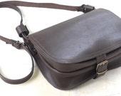 Leather shoulder bag/Saddle bag/Crossbody bag/Tote bag/Messenger bag/Dark brown leather handbag