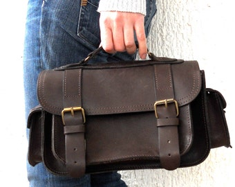Medium size leather camera bag / Women/Men dark brown leather bag / Photo case / Shoulder bag