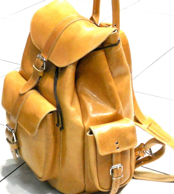 Extra Large backpack in natural (tan) leather / Women-Men leather backpack