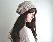 Slouchy Knitted Hat, Soft Pastel Colors for Autumn, Knit Slouch Cap Thick & Soft