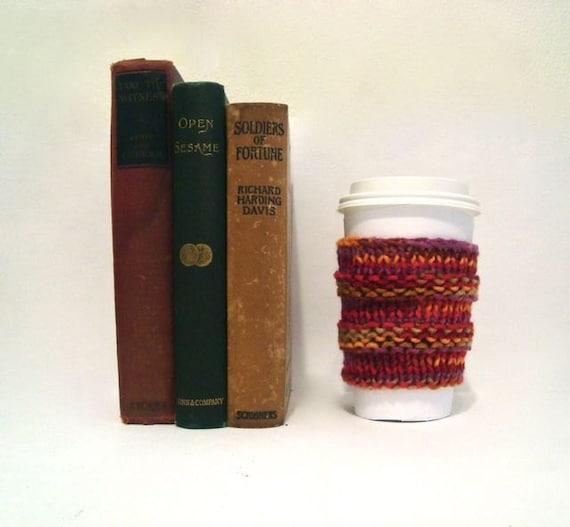 Colorful Coffee Cozy, Knitted