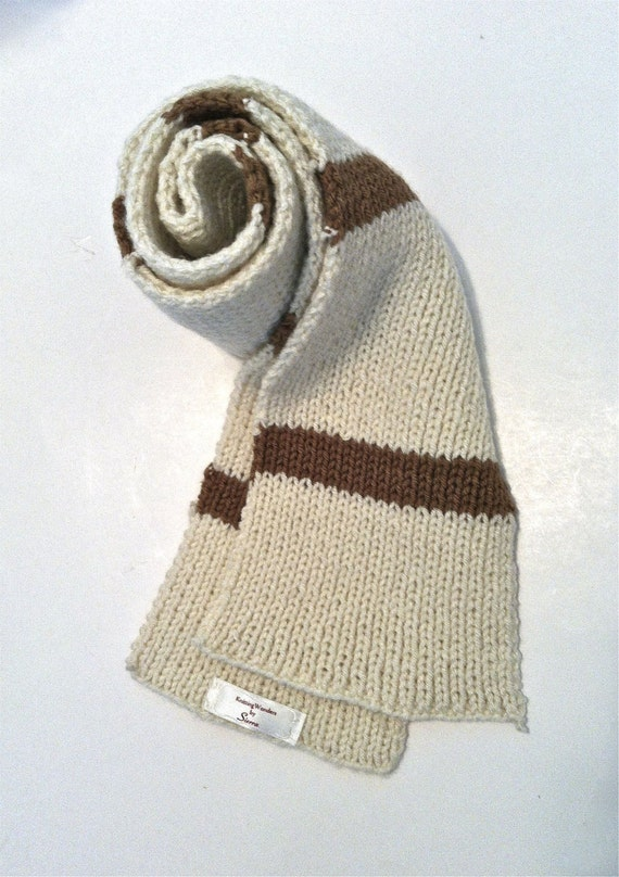Sale - Brown & White Striped Scarf