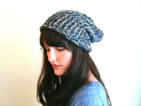 Knitted Slouchy Hat, Blue and Soft Gold Autumn Winter Cap Beanie Tam