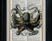 Marvelous Octopus Vintage Illustration on Book Page Art Print (ida0001)