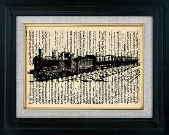 Retro Train 04 Vintage Illustration on Book Page Art Print (id6012)