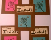 Rose & Dragonfly Party Invites pink blue brown cream flower invitations