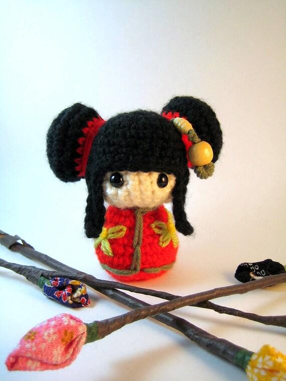 Mei Lynn, a Kokeshi Amigurumi Doll
