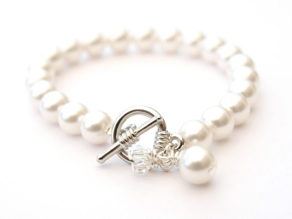 White Wedding Pearl Bracelet Crystal Charms Bridal Jewelry Wedding Bridesmaid Gift Maid of Honor Swarovski Pearls